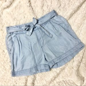 Joe Fresh Light Wash Chambray Tie Front Shorts